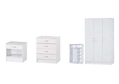 White Two Tone 3 PIECE SET Triple Standard 3 Door Wardrobe
