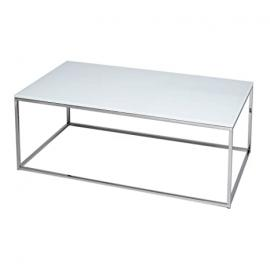 Gillmore Space White Glass and Silver Metal Contemporary Rectangular Coffee Table