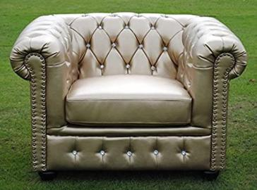 Brand new Chesterfield Armchair - Crystal Diamante - Gold Bycast Leather!