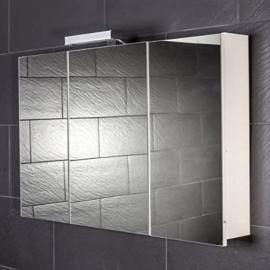 Galdem Start 100 Mirrored Bathroom Cabinet 100 cm / 3 Doors / Halogen Lights / Soft Close Function / Plug / Also Suitable for Hallway