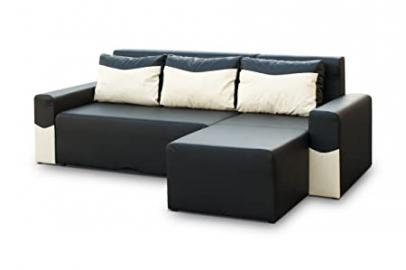 Black Faux leather Corner Sofa Bed - Peter - Polskie Narozniki - Meble Polskie - 245cm wide - with storage