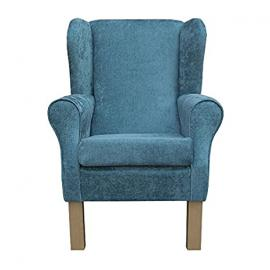 Small Westoe Wingback Armchair in an Oleandro Teal Fabric with Hardwood Legs