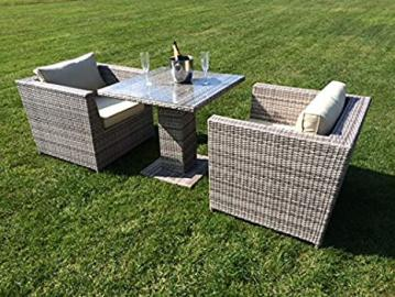 RATTAN TWO SEATER CUBE/TABLE/SET GREY ALUMINIUM FRAME