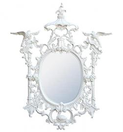 White Wooden Carved Mirror