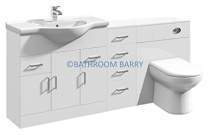 1750mm Modular High Gloss White Bathroom Combination Vanity Basin Sink Cabinet, Four Drawer Cupboard, WC Toilet Furniture & BTW Pan
