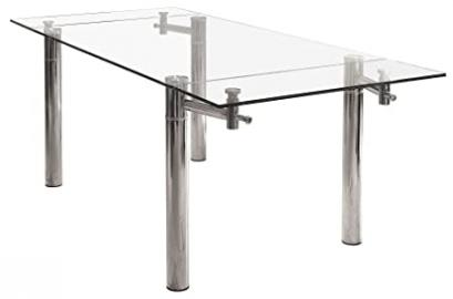 Febland Top Rectangular Extending Dining Table, Glass, Clear/Transparent