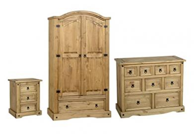 Seconique Corona 3 Piece Bedroom Set - 2 Door 1 Drawer Wardrobe + 4+3+2 Drawer Chest + 3 Drawer Bedside Cabinet - Waxed Pine Colour