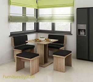 "Complete, Stylish Dining Table With Chairs/Seats ""BOND"" In 2 Sizes. (Bond Small, Sonoma Oak Light Eco Black)"