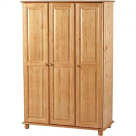 Sol Solid Antique Pine 3 Door Wardrobe - Delivery To UK Mainland and Ireland