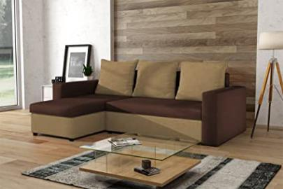 RHODES large beige and brown fabric corner sofa bed couch with storage for linen sleeping area shelves living room furniture sofa beds couches