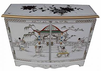 Chinese Oriental Furniture - White Lacquer 2 Door Cabinet with Mother of Pearl