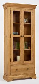 Ametis Normandy Oak Display Cabinet, Size: H 190cm, W 86cm, D 36cm