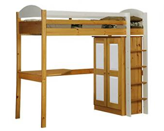 Design Vicenza Maximus High Sleeper Set 1, Wood, Antique Pine with White Details, Single, 3 ft