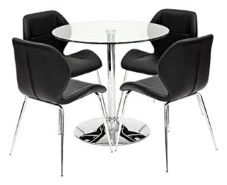 Febland Clear Dining Table with 4 Black Dinky Chairs, Glass, Chrome