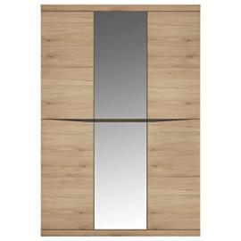 Furniture To Go 4-Door Wardrobe with 2 Mirror Doors, Wood, Oak