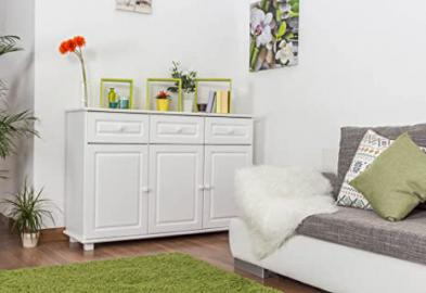 Sideboard 009, 3 doors, 3 drawer, solid pine wood, white finish - H100 x W150 x D45 cm