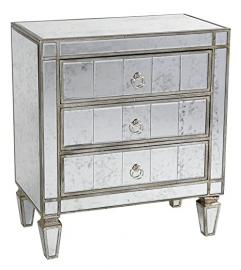 Wooden Bedside With 3 Drawers Mirrored Chest And Antique Silver Finish