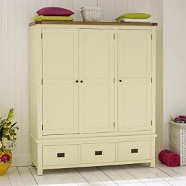 Cream Painted Rustic Oak Triple Wardrobe