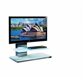 Catilever TV Stand Model SY341 for LCD, LED or Plasma Screens 37,40, 42,46,47,50,52,55 inch by SAMSUNG, LG, SONY, PHILIPS, TOSHIBA, PANASONIC, JVC. (White Glass)