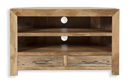 Cube Petite Chunky Solid Mango Wood Corner Entertainment Unit Tv Cabinet (Oaklands Furniture)