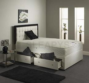 B&M 4ft6 Double Spring Memory foam divan bed with 2 drawers no headboard by beds and mattress