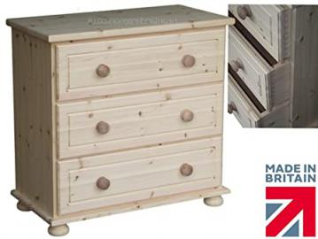 Solid Pine Chest of Drawers, 3 Drawer Chest Handcrafted & Waxed Pine Bedroom Furniture. The Chelmarsh Collection. Choice of Colours. No flat packs, No assembly (CHC2)