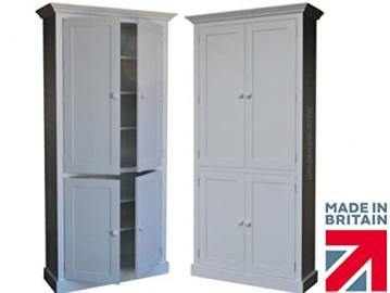 100% Solid Wood Cupboard, 7ft Tall White Painted 4 Door Pantry, Linen, Larder, Shoe, Hallway or Kitchen Storage Cabinet. No flat packs, No assembly (7KPC4-P)