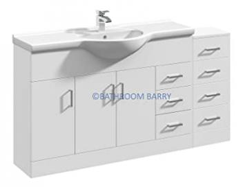 1500mm Modular High Gloss White Bathroom Combination Vanity Basin Sink Cabinet & Four Drawer Cupboard