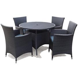 Appledore Rattan Garden 4 Seater Round Dining Set Black with 4 Arm Chairs