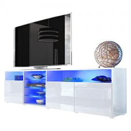 TV Stand Unit Granada V2, Carcass in White High Gloss / Front in White High Gloss