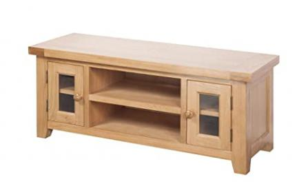 Devon Solid Oak Large TV Unit / Natural Oak Lacquer Fully Assembled Large TV Stand / Living Room Furniture / Hallway Furniture / Dining Room Furniture / Bedroom Furniture