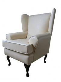 Cream Beige Faux Leather Fabric Queen Anne Chair wing back fireside high back chair. Ideal bedroom or living room furniture