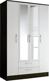 Lynx Modern 4 Door 2 Draw Wardrobe with a High Gloss Black and White Finish, Mirror and Silver Handles