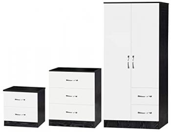 Marina White High Gloss and Ash Black Combi Set, Wood, Multi-Colour, 3 Piece