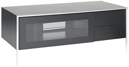 TECHLINK Blade BL110B Satin Black Carcass with Two Drawers and Infrared Friendly Glass Door Stand for TV's Upto 55 inch
