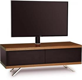 "MDA Designs Tucana 1200 Hybrid Cantilever Complete Black & Walnut TV Cabinet for up to 60"" TVs with Beamthru Door"