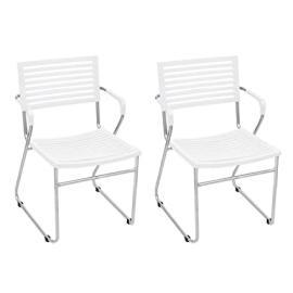 White Stackable Arm Chair 24 pcs
