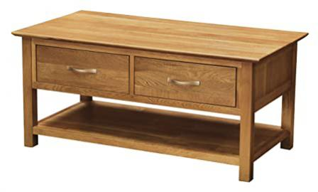 Westminster Solid Oak 4 Drawer Large Coffee Table with Light Oak Finish | Solid Wooden Rectangular Shaped Lounge Storage