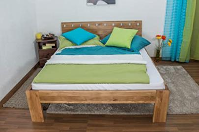 Double Bed Wooden Nature 84, solid wild oak, oiled - 180 x 200 cm