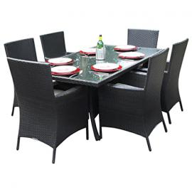 Oxford 6 Seat Rectangular All Weather Rattan Garden Dining Set in Black