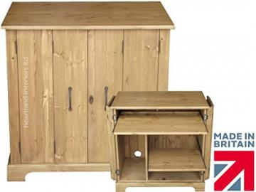 Solid Wood Desk, Handcrafted & Waxed Tri-folding Computer Workstation Desk, Hidden Home Office Bureau with Locking Doors. Choice of Colours. No flat packs, No assembly (WSBIF)