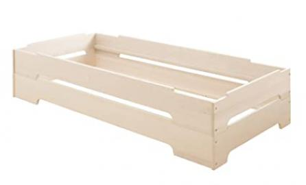 Savings set: 2 Stack beds Kai 90x200. Biological pinewood with white finish. 2 beds