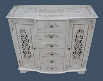 French Shabby Chic Furniture - Handcarved Sideboard Cabinet in Antique White Finish