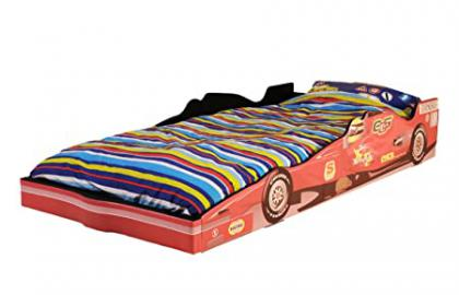 Children's F1 Racing Car Bed with Gorgeous Printed Design - EU Single Size - Includes Chand Spring Mattress