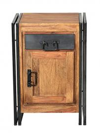 SIT-Möbel Panama Shesham natur 9208-01 Base Cabinet with Heavy Antique Metal and Signs of Use 50 x 34 x 73 cm 1x Door 1x Drawer