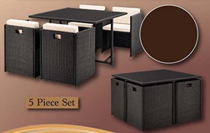 5 Piece Rosemeade Rattan Weave Garden Cube Set