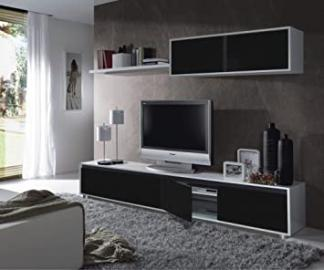 Aida - ALIDA living room TV cabinet 200 cm. - 0T6663BO - WHITE GLOSS/ BLACK GLOSS - (211x52.5x10)