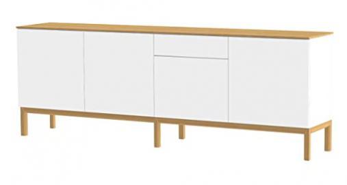 Tenzo PATCH Designer Sideboard with Oak Veneer Top, 85 x 238.5 x 47 cm, White/Oak