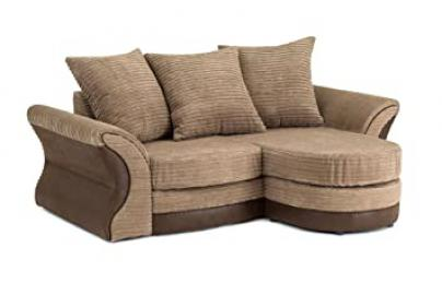 Merida Corner Sofa in Brown & Beige - Right Hand