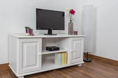 TV-cabinet 001, solid pine wood, white finish - H55 x W118 x D47 cm